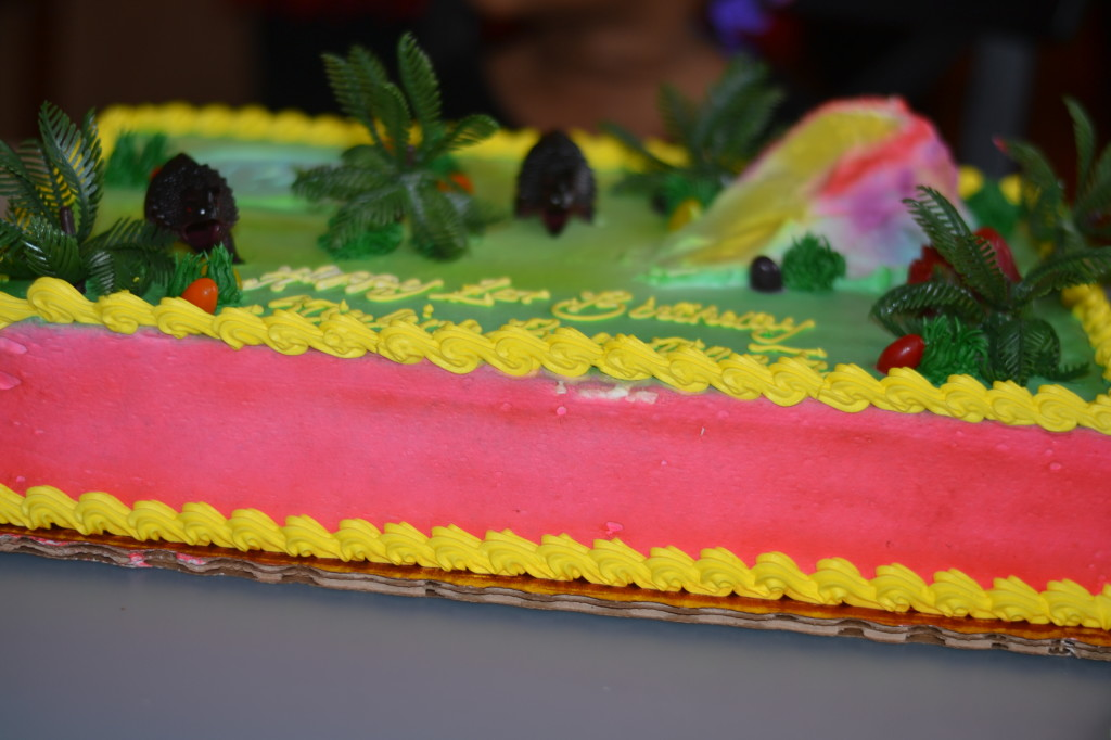 His dinosaur cake...
