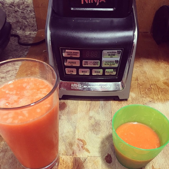 Carrot Apple Ginger Juice inspired by @mommyweek. Any tips on making juice less pulpy in the Nutra Ninja? I'm not a fan of pulpy juice.