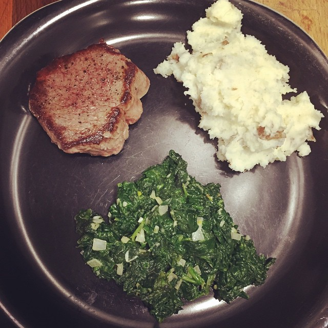 Dinner: Pan-Seared Steak w/ Whipped Potatoes and Creamed Spinach (light…
