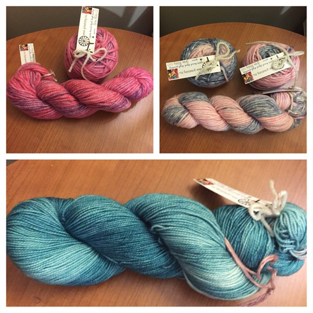 My very first order of hand dyed superwash merino yarn…