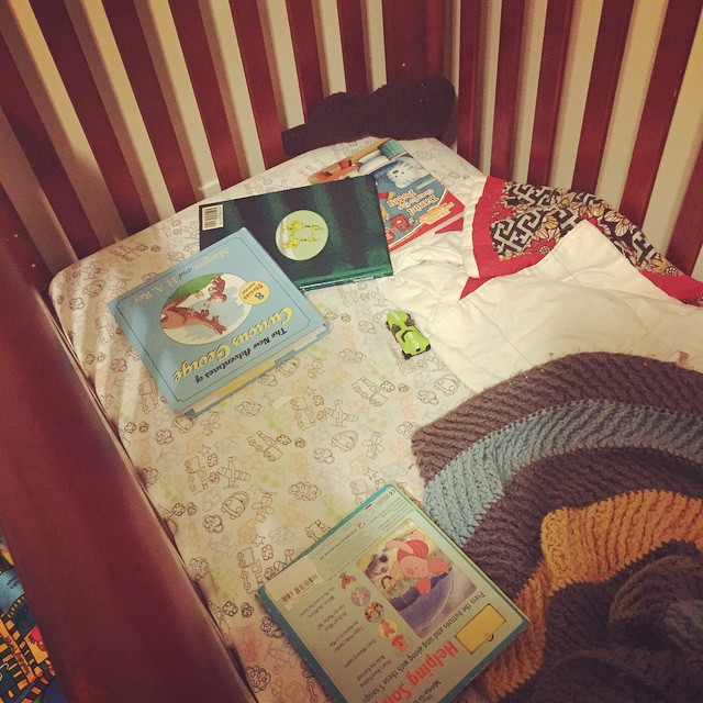 Me: Why do you have four books in your bed?…